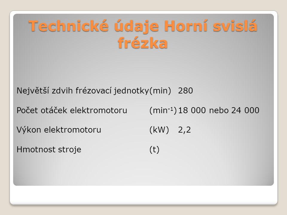 Technické údaje Horní svislá frézka Největší zdvih frézovací jednotky(min)280 Počet otáček elektromotoru(min -1 )18 000 nebo 24 000 Výkon elektromotor