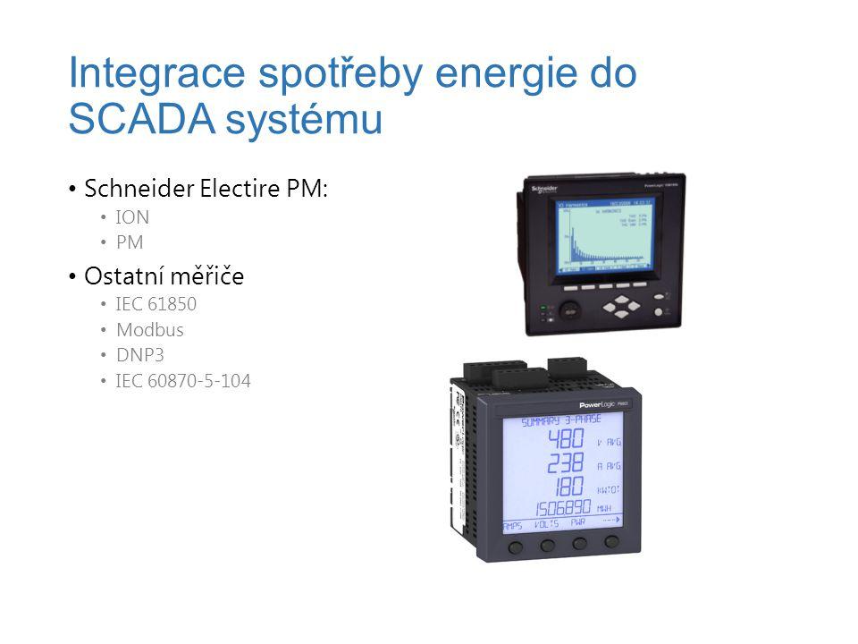 Schneider Electire PM: ION PM Ostatní měřiče IEC 61850 Modbus DNP3 IEC 60870-5-104 Integrace spotřeby energie do SCADA systému