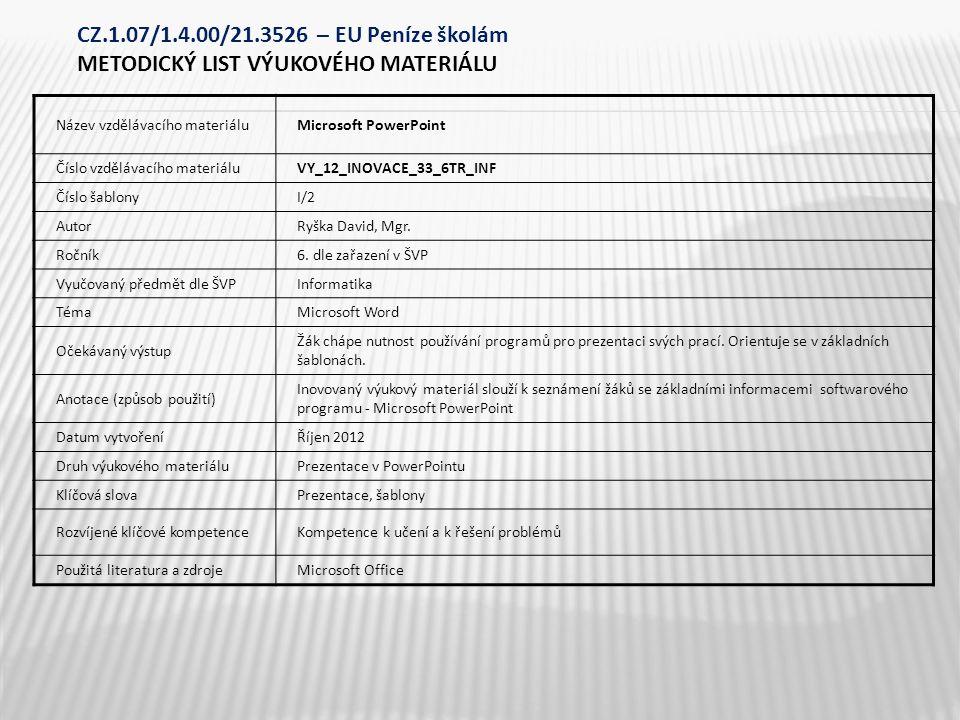 Nabídka START Všechny programy Microsoft PowerPoint