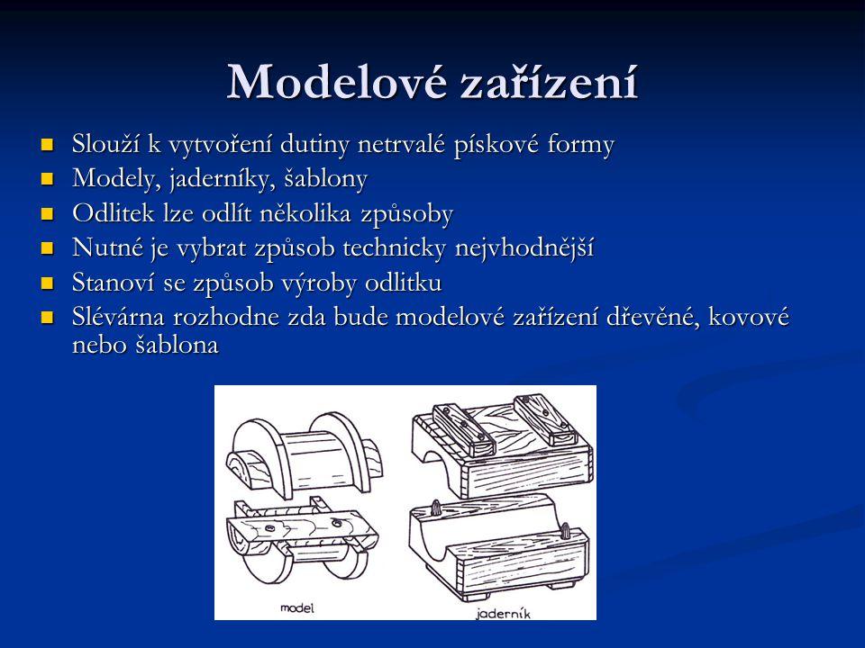 Modelové zařízení Slouží k vytvoření dutiny netrvalé pískové formy Modely, jaderníky, šablony Odlitek lze odlít několika způsoby Nutné je vybrat způso