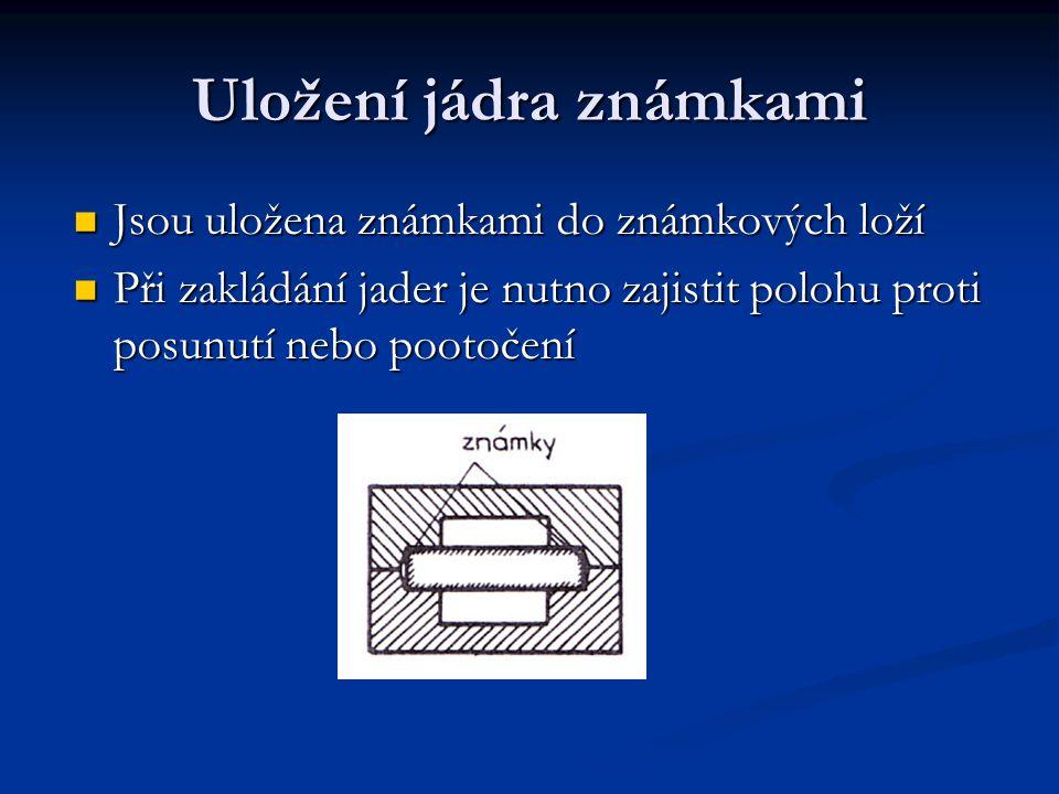 Uložení jádra známkami Jsou uložena známkami do známkových loží Při zakládání jader je nutno zajistit polohu proti posunutí nebo pootočení