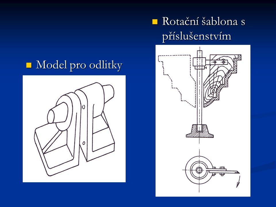 Šablony Šablonu – pro malý počet odlitku Šablonováním – zhotovují se formy i jádra Geometrický tvar – vytvoříme otáčením nebo posouváním Šablony rotační, rovinné