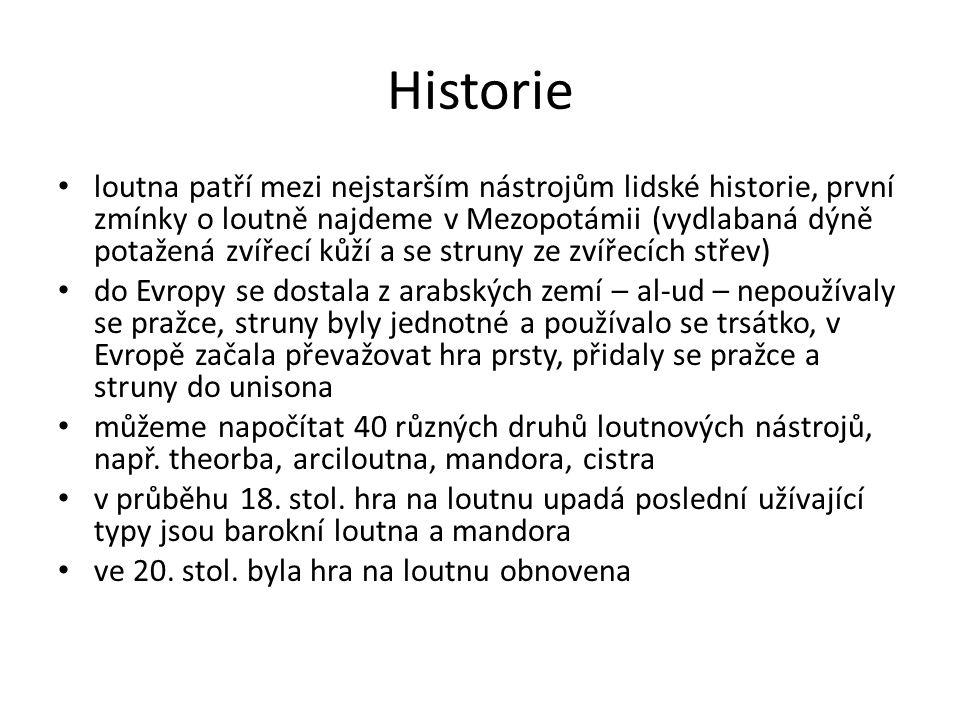 Historie loutna patří mezi nejstarším nástrojům lidské historie, první zmínky o loutně najdeme v Mezopotámii (vydlabaná dýně potažená zvířecí kůží a s