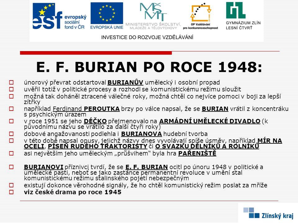 E. F. BURIAN PO ROCE 1948:  únorový převrat odstartoval BURIANŮV umělecký i osobní propad  uvěřil totiž v politické procesy a rozhodl se komunistick
