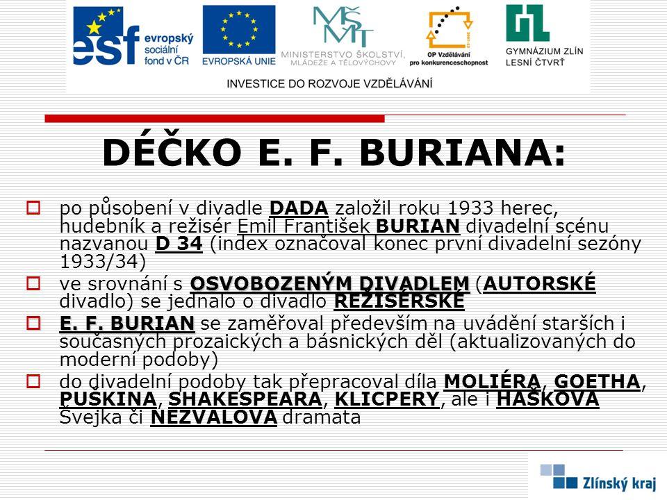 DÉČKO E. F. BURIANA:  po působení v divadle DADA založil roku 1933 herec, hudebník a režisér Emil František BURIAN divadelní scénu nazvanou D 34 (ind