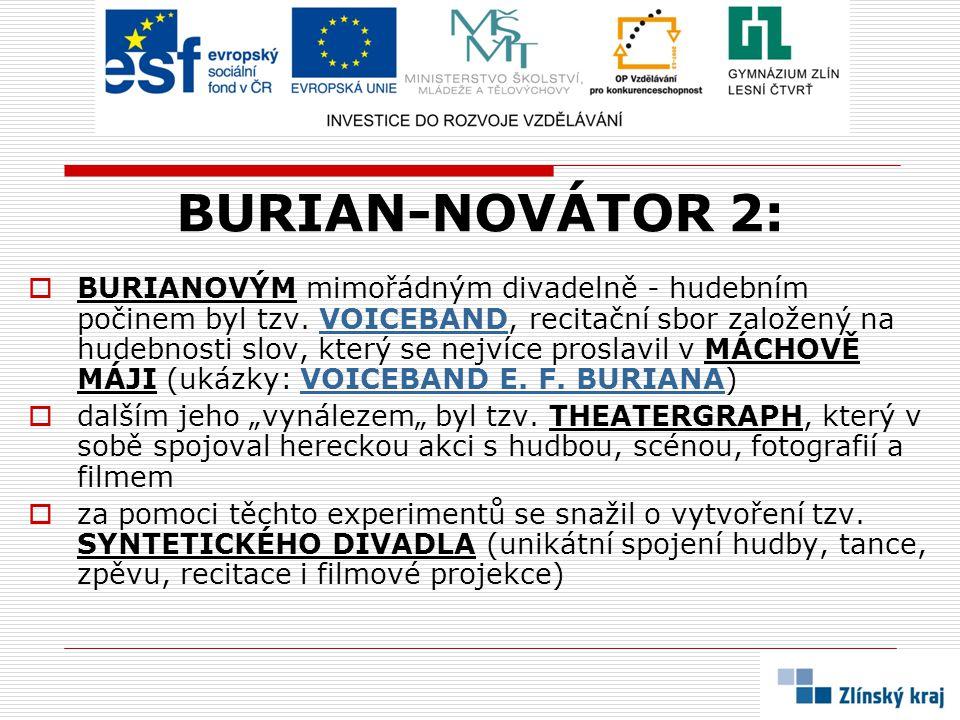 BURIAN-NOVÁTOR 2:  BURIANOVÝM mimořádným divadelně - hudebním počinem byl tzv. VOICEBAND, recitační sbor založený na hudebnosti slov, který se nejvíc