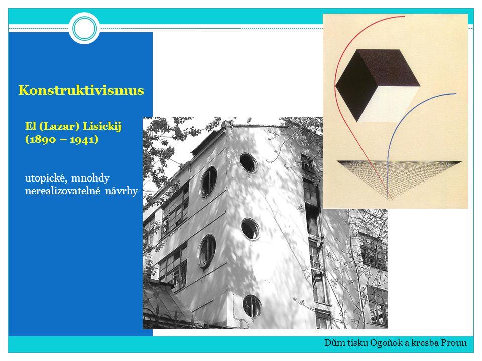 Konstruktivismus El (Lazar) Lisickij (1890 – 1941) utopické, mnohdy nerealizovatelné návrhy Dům tisku Ogoňok a kresba Proun