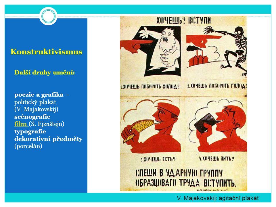 Konstruktivismus Další druhy umění: poezie a grafika – politický plakát (V.
