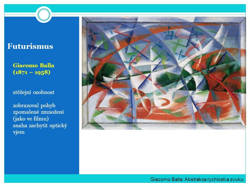 Futurismus Giacomo Balla (1871 – 1958) stěžejní osobnost zobrazoval pohyb zpomalené zmnožení (jako ve filmu) snaha zachytit optický vjem Giacomo Balla: Abstrakce rychlosti a zvuku