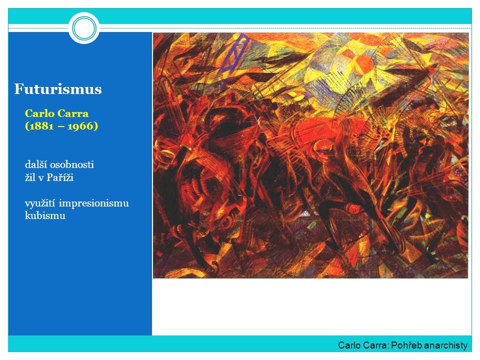 Futurismus Carlo Carra (1881 – 1966) další osobnosti žil v Paříži využití impresionismu kubismu Carlo Carra: Pohřeb anarchisty