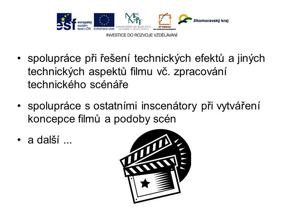 spolupráce při řešení technických efektů a jiných technických aspektů filmu vč.