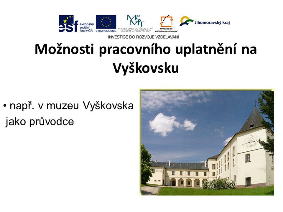Možnosti pracovního uplatnění na Vyškovsku např. v muzeu Vyškovska jako průvodce