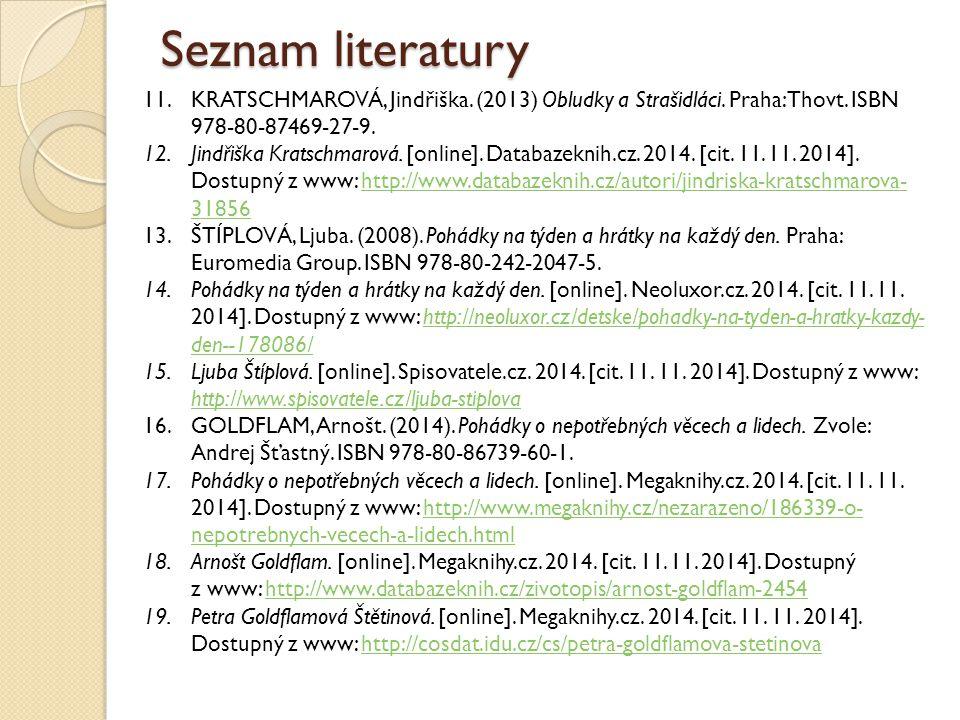 Seznam literatury 11.KRATSCHMAROVÁ, Jindřiška. (2013) Obludky a Strašidláci. Praha: Thovt. ISBN 978-80-87469-27-9. 12.Jindřiška Kratschmarová. [online
