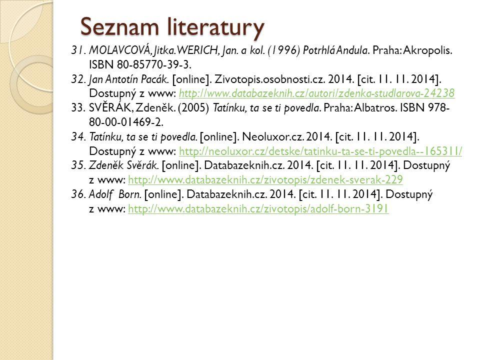 Seznam literatury 31.MOLAVCOVÁ, Jitka. WERICH, Jan. a kol. (1996) Potrhlá Andula. Praha: Akropolis. ISBN 80-85770-39-3. 32.Jan Antotín Pacák. [online]