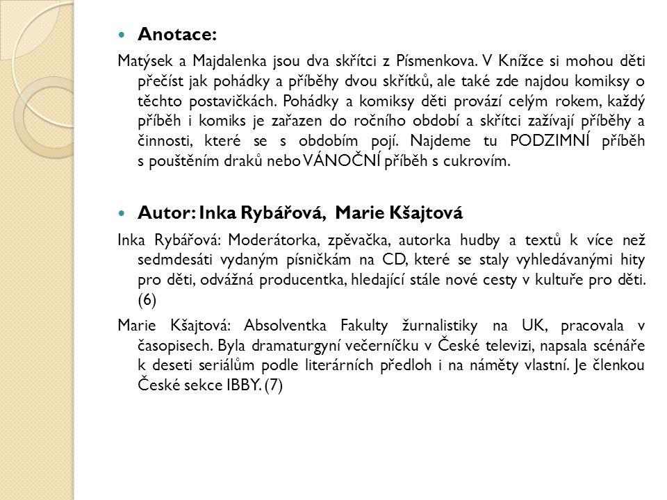 Anotace: Matýsek a Majdalenka jsou dva skřítci z Písmenkova. V Knížce si mohou děti přečíst jak pohádky a příběhy dvou skřítků, ale také zde najdou ko