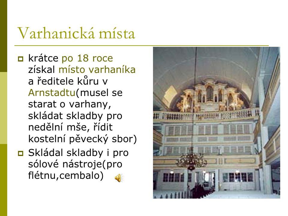  Ve 23 letech se stal varhaníkem ve Výmaru, kde se i oženil se svou sestřenicí Marií Bachovou, druhou ženou se mu stala zpěvačka Anna Magdalena (20 dětí, čtyři synové se stali proslulými hudebníky)  Hodně skládal-kantáty, chorály,toccaty(Toccata a fuga d moll)