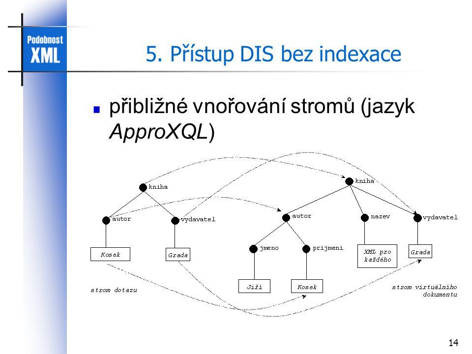 14 5. Přístup DIS bez indexace přibližné vnořování stromů (jazyk ApproXQL)