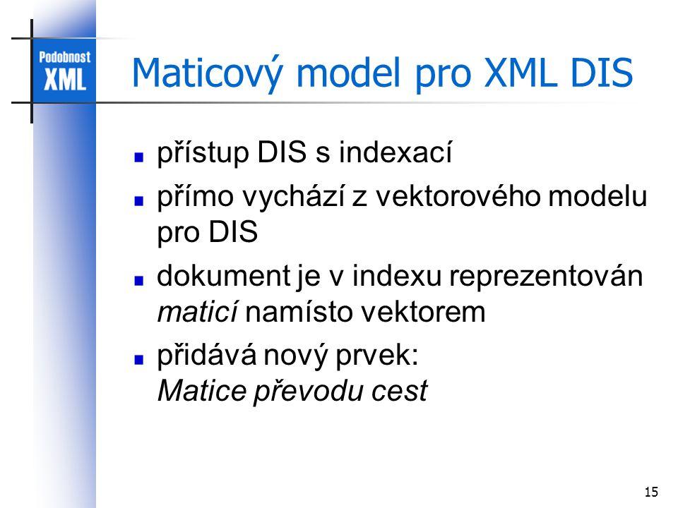 15 Maticový model pro XML DIS přístup DIS s indexací přímo vychází z vektorového modelu pro DIS dokument je v indexu reprezentován maticí namísto vektorem přidává nový prvek: Matice převodu cest