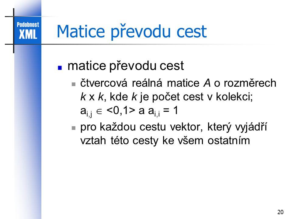 20 Matice převodu cest matice převodu cest čtvercová reálná matice A o rozměrech k x k, kde k je počet cest v kolekci; a i,j  a a i,i = 1 pro každou cestu vektor, který vyjádří vztah této cesty ke všem ostatním
