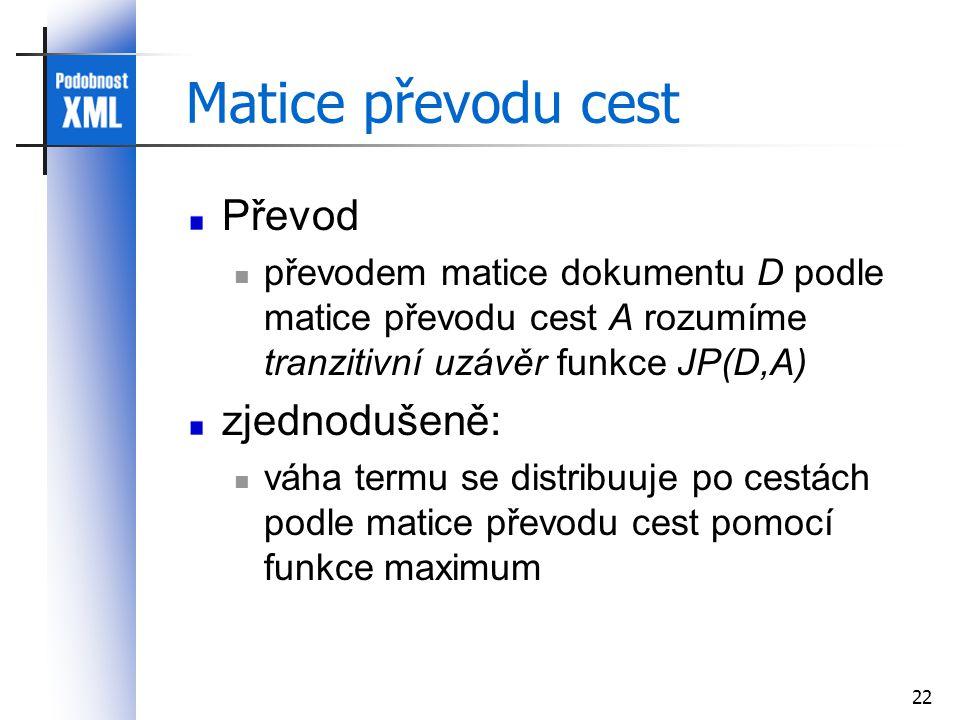 22 Matice převodu cest Převod převodem matice dokumentu D podle matice převodu cest A rozumíme tranzitivní uzávěr funkce JP(D,A) zjednodušeně: váha termu se distribuuje po cestách podle matice převodu cest pomocí funkce maximum