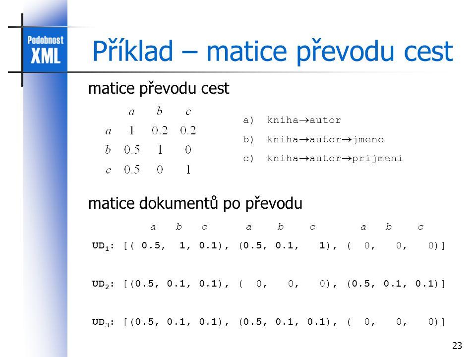 23 Příklad – matice převodu cest a)kniha  autor b)kniha  autor  jmeno c)kniha  autor  prijmeni a b c a b c a b c UD 1 : [( 0.5, 1, 0.1), (0.5, 0.1, 1), ( 0, 0, 0)] UD 2 : [(0.5, 0.1, 0.1), ( 0, 0, 0), (0.5, 0.1, 0.1)] UD 3 : [(0.5, 0.1, 0.1), (0.5, 0.1, 0.1), ( 0, 0, 0)] matice převodu cest matice dokumentů po převodu