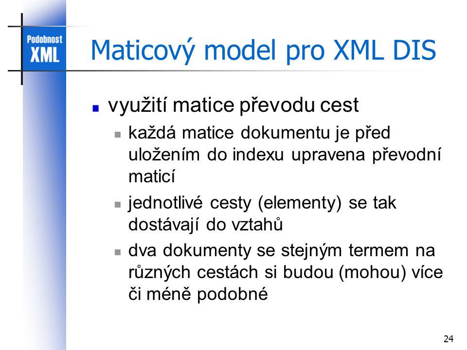 24 Maticový model pro XML DIS využití matice převodu cest každá matice dokumentu je před uložením do indexu upravena převodní maticí jednotlivé cesty (elementy) se tak dostávají do vztahů dva dokumenty se stejným termem na různých cestách si budou (mohou) více či méně podobné
