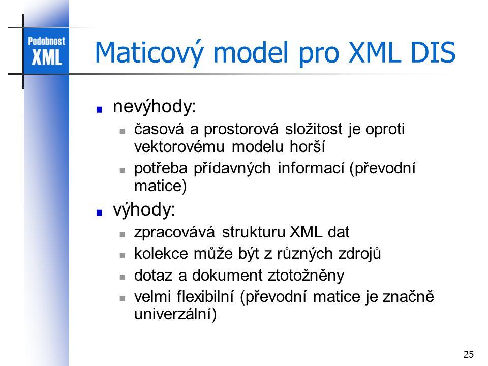 25 Maticový model pro XML DIS nevýhody: časová a prostorová složitost je oproti vektorovému modelu horší potřeba přídavných informací (převodní matice) výhody: zpracovává strukturu XML dat kolekce může být z různých zdrojů dotaz a dokument ztotožněny velmi flexibilní (převodní matice je značně univerzální)
