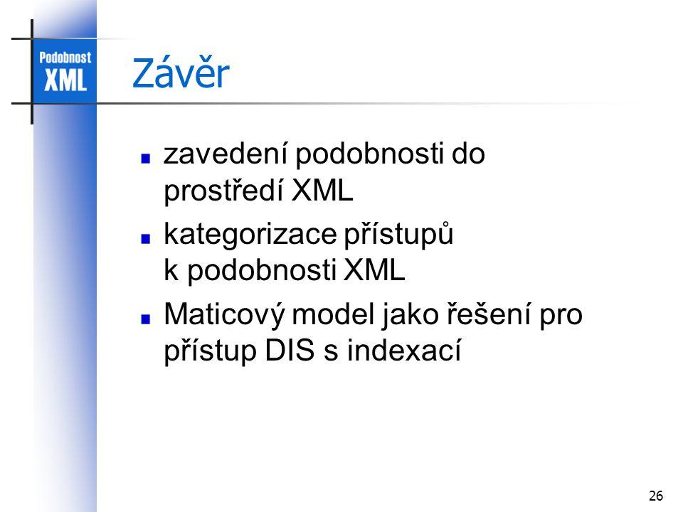 26 Závěr zavedení podobnosti do prostředí XML kategorizace přístupů k podobnosti XML Maticový model jako řešení pro přístup DIS s indexací