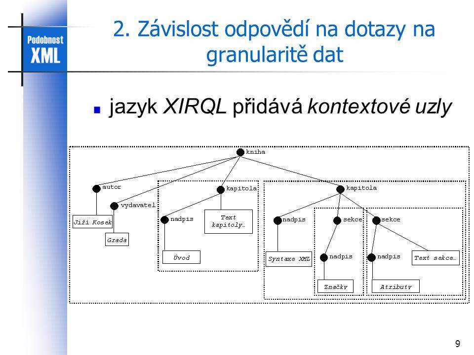 9 2. Závislost odpovědí na dotazy na granularitě dat jazyk XIRQL přidává kontextové uzly