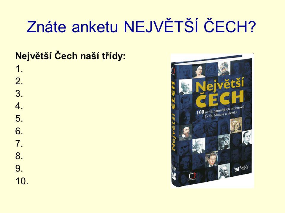 Znáte anketu NEJVĚTŠÍ ČECH? Největší Čech naší třídy: 1. 2. 3. 4. 5. 6. 7. 8. 9. 10.