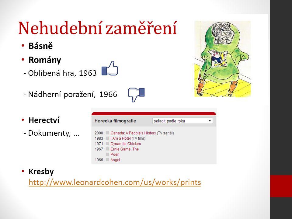Nehudební zaměření Básně Romány - Oblíbená hra, 1963 - Nádherní poražení, 1966 Herectví - Dokumenty, … Kresby http://www.leonardcohen.com/us/works/pri
