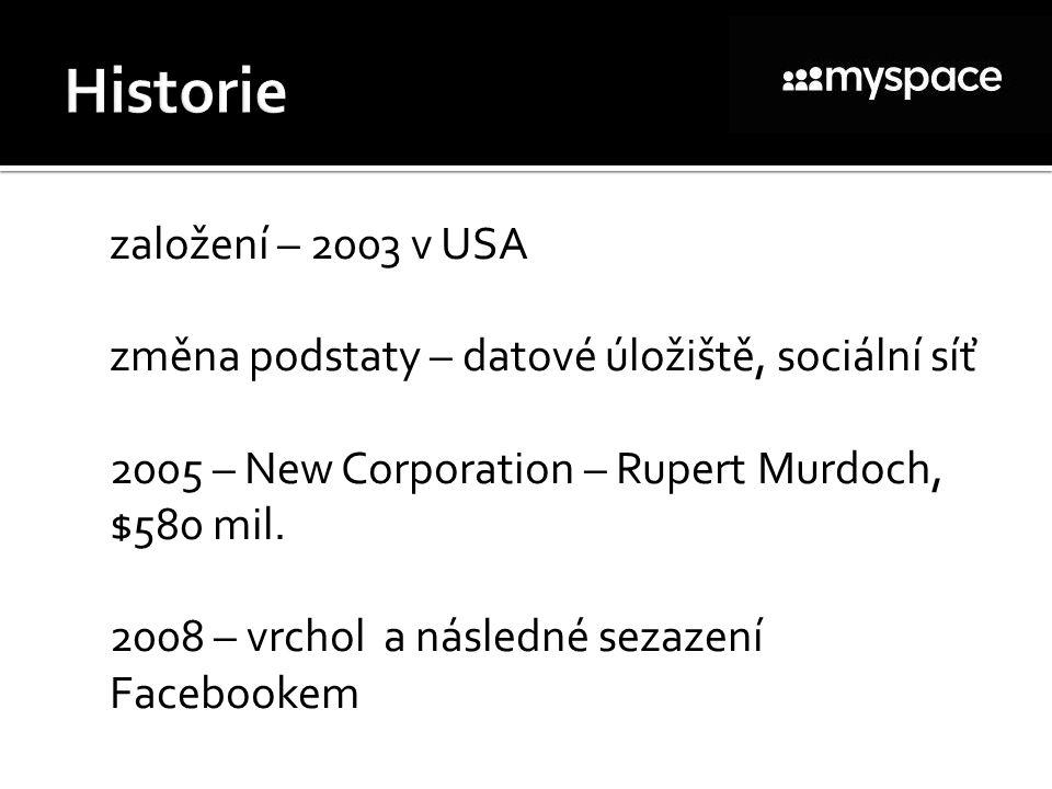  založení – 2003 v USA  změna podstaty – datové úložiště, sociální síť  2005 – New Corporation – Rupert Murdoch, $580 mil.