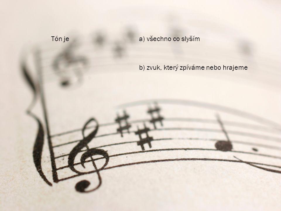 Tón jea) všechno co slyším b) zvuk, který zpíváme nebo hrajeme