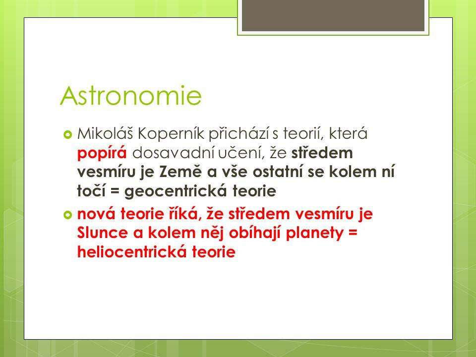 Astronomie  Mikoláš Koperník přichází s teorií, která popírá dosavadní učení, že středem vesmíru je Země a vše ostatní se kolem ní točí = geocentrick