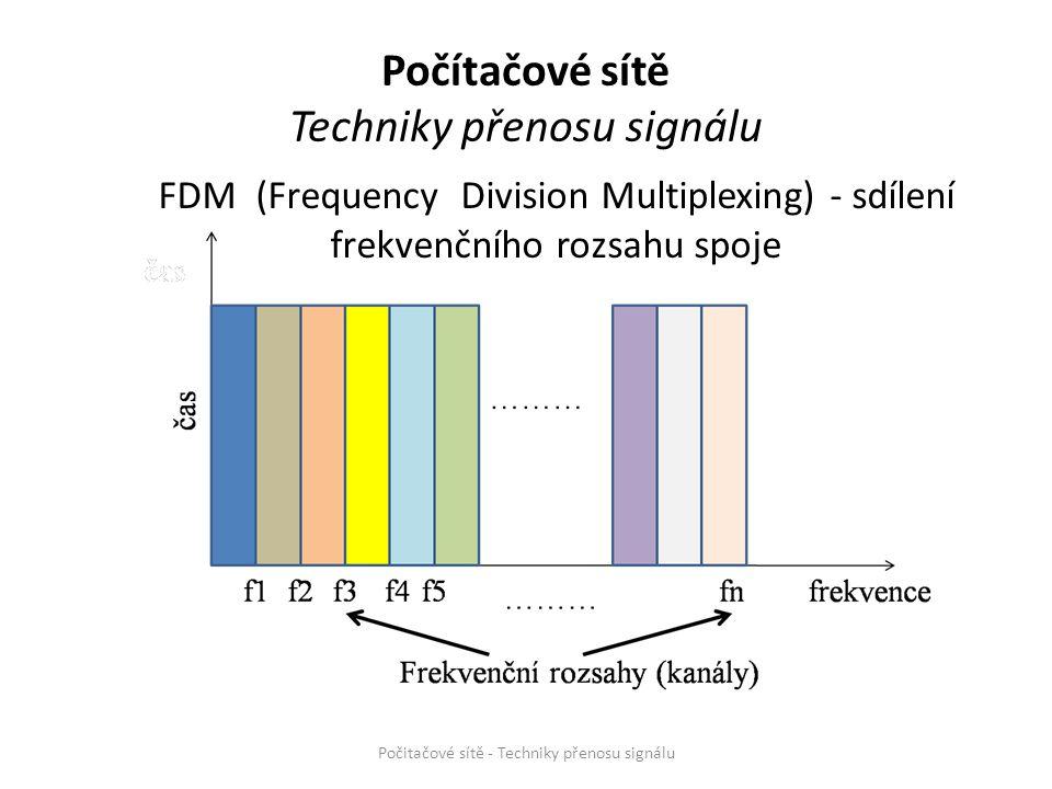 FDM (Frequency Division Multiplexing) - sdílení frekvenčního rozsahu spoje Počitačové sítě - Techniky přenosu signálu frekvence Počítačové sítě Techni