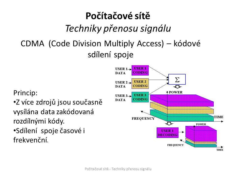 CDMA (Code Division Multiply Access) – kódové sdílení spoje Počitačové sítě - Techniky přenosu signálu Princip: Z více zdrojů jsou současně vysílána d