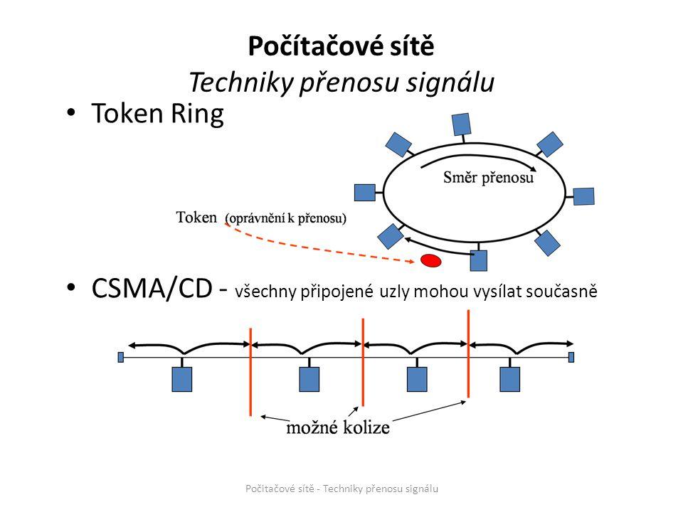 Token Ring CSMA/CD - všechny připojené uzly mohou vysílat současně Počitačové sítě - Techniky přenosu signálu Počítačové sítě Techniky přenosu signálu