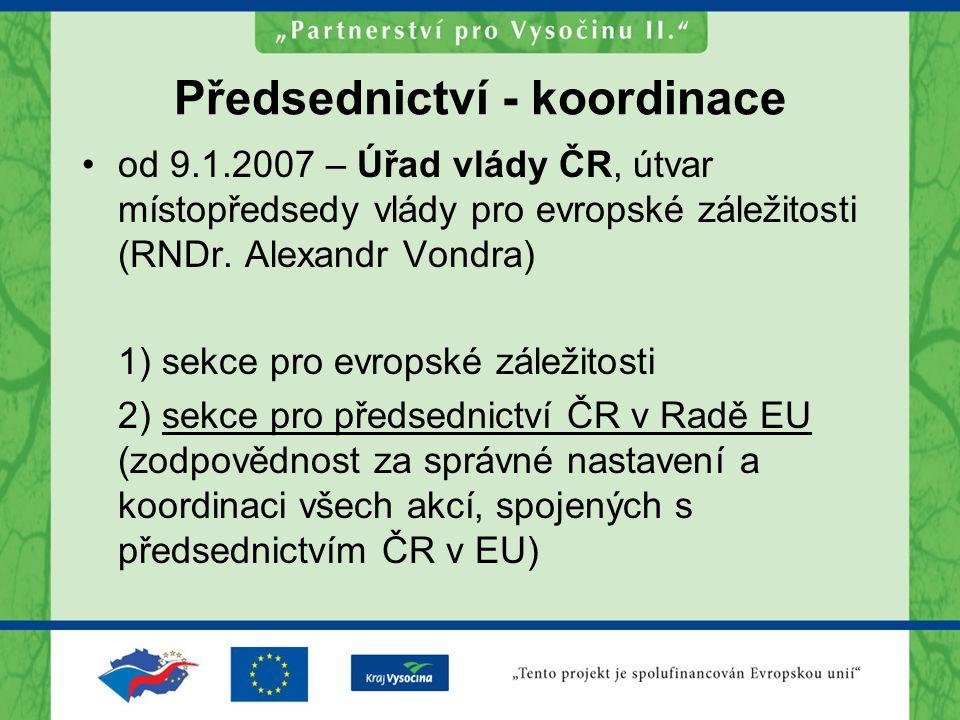 Předsednictví - koordinace od 9.1.2007 – Úřad vlády ČR, útvar místopředsedy vlády pro evropské záležitosti (RNDr. Alexandr Vondra) 1) sekce pro evrops