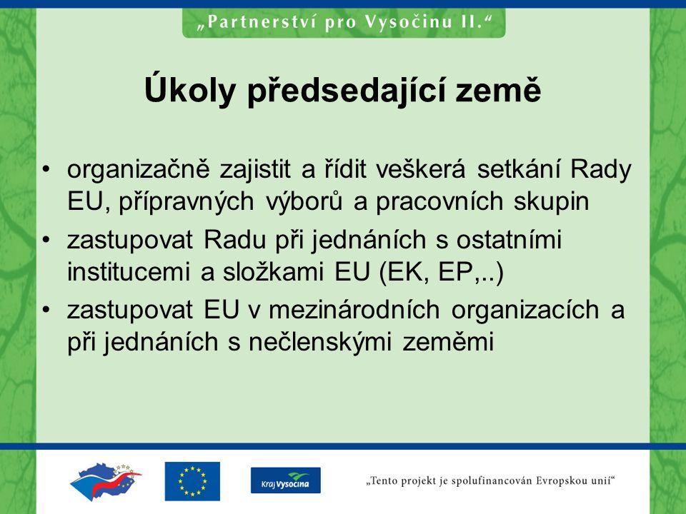 Úkoly předsedající země organizačně zajistit a řídit veškerá setkání Rady EU, přípravných výborů a pracovních skupin zastupovat Radu při jednáních s ostatními institucemi a složkami EU (EK, EP,..) zastupovat EU v mezinárodních organizacích a při jednáních s nečlenskými zeměmi