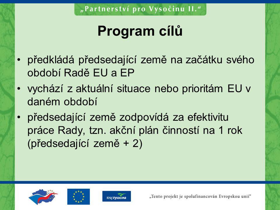 Program cílů předkládá předsedající země na začátku svého období Radě EU a EP vychází z aktuální situace nebo prioritám EU v daném období předsedající země zodpovídá za efektivitu práce Rady, tzn.