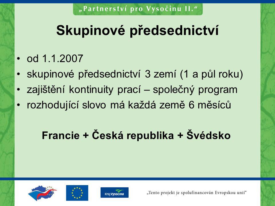 Skupinové předsednictví od 1.1.2007 skupinové předsednictví 3 zemí (1 a půl roku) zajištění kontinuity prací – společný program rozhodující slovo má každá země 6 měsíců Francie + Česká republika + Švédsko