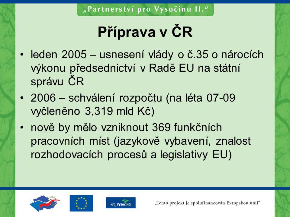 Příprava v ČR leden 2005 – usnesení vlády o č.35 o nárocích výkonu předsednictví v Radě EU na státní správu ČR 2006 – schválení rozpočtu (na léta 07-09 vyčleněno 3,319 mld Kč) nově by mělo vzniknout 369 funkčních pracovních míst (jazykově vybavení, znalost rozhodovacích procesů a legislativy EU)