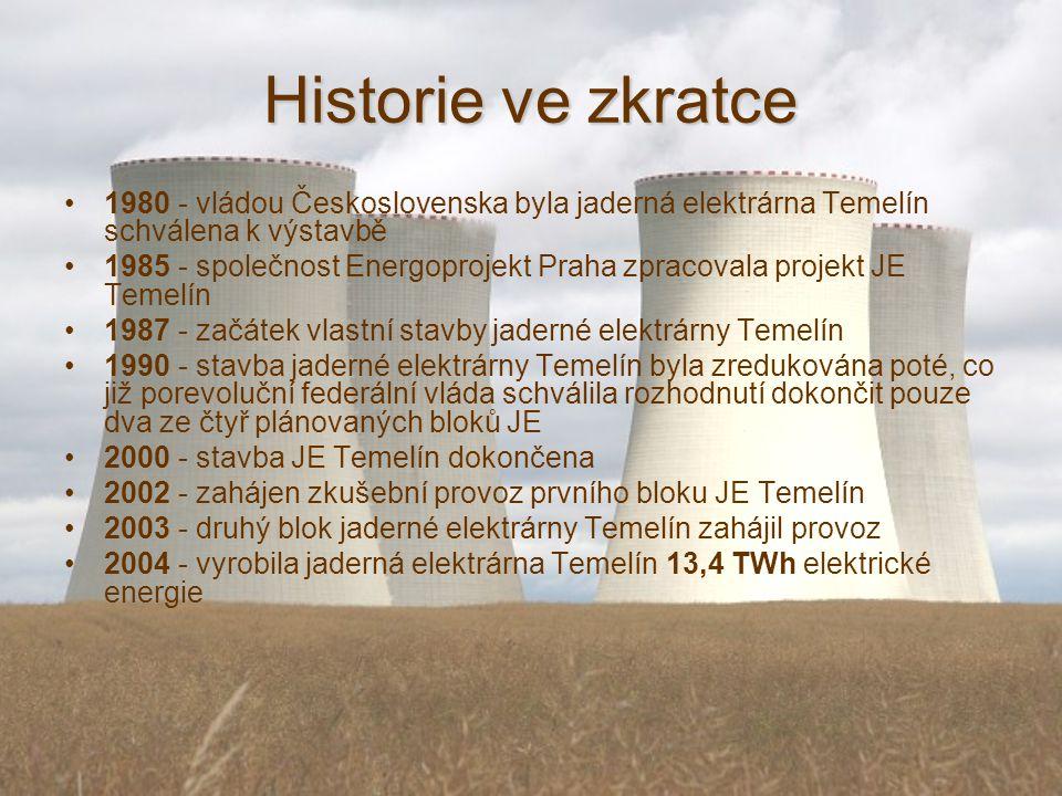 Historie ve zkratce 1980 - vládou Československa byla jaderná elektrárna Temelín schválena k výstavbě 1985 - společnost Energoprojekt Praha zpracovala projekt JE Temelín 1987 - začátek vlastní stavby jaderné elektrárny Temelín 1990 - stavba jaderné elektrárny Temelín byla zredukována poté, co již porevoluční federální vláda schválila rozhodnutí dokončit pouze dva ze čtyř plánovaných bloků JE 2000 - stavba JE Temelín dokončena 2002 - zahájen zkušební provoz prvního bloku JE Temelín 2003 - druhý blok jaderné elektrárny Temelín zahájil provoz 2004 - vyrobila jaderná elektrárna Temelín 13,4 TWh elektrické energie