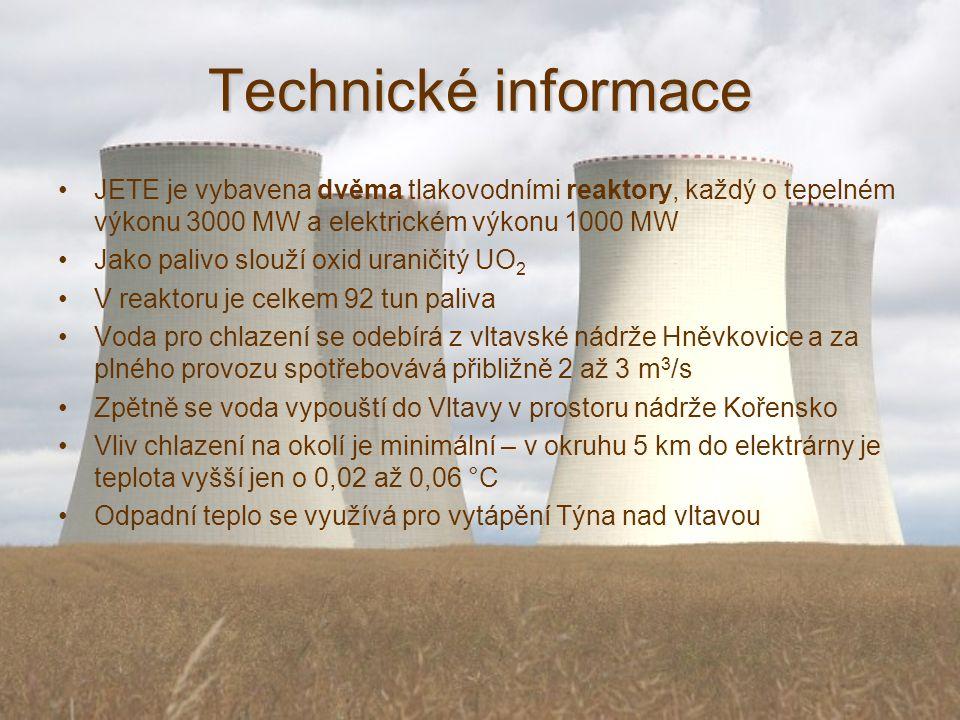 Technické informace JETE je vybavena dvěma tlakovodními reaktory, každý o tepelném výkonu 3000 MW a elektrickém výkonu 1000 MW Jako palivo slouží oxid uraničitý UO 2 V reaktoru je celkem 92 tun paliva Voda pro chlazení se odebírá z vltavské nádrže Hněvkovice a za plného provozu spotřebovává přibližně 2 až 3 m 3 /s Zpětně se voda vypouští do Vltavy v prostoru nádrže Kořensko Vliv chlazení na okolí je minimální – v okruhu 5 km do elektrárny je teplota vyšší jen o 0,02 až 0,06 °C Odpadní teplo se využívá pro vytápění Týna nad vltavou