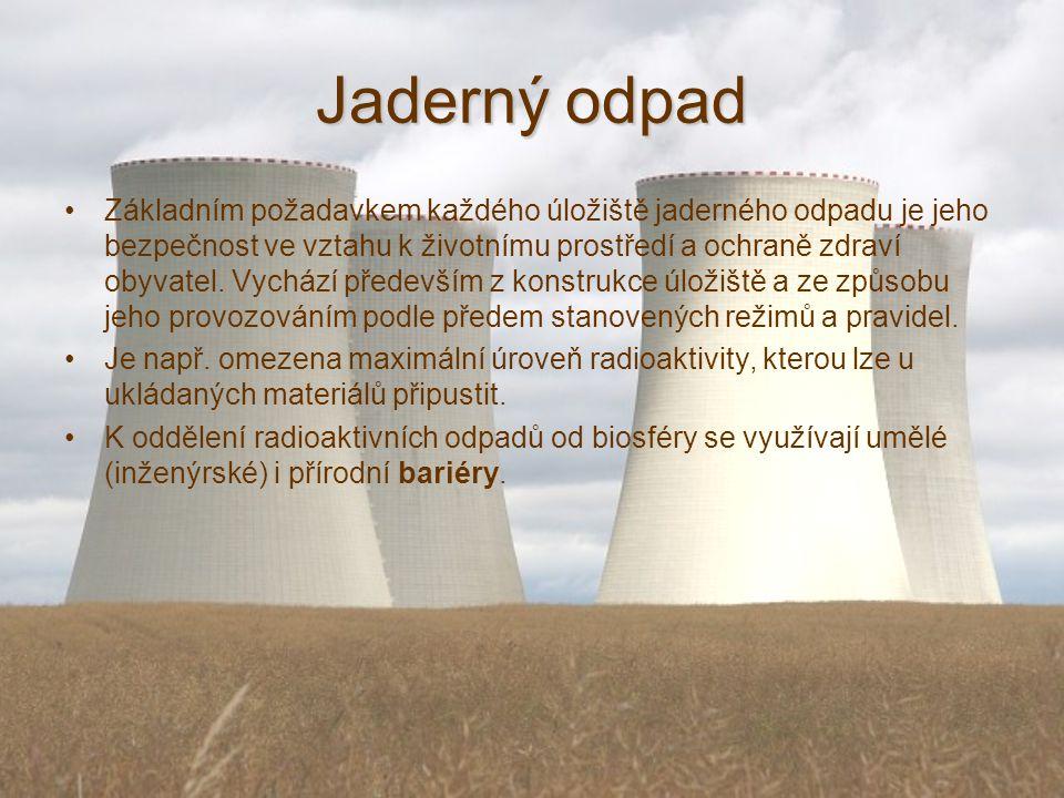 Jaderný odpad Základním požadavkem každého úložiště jaderného odpadu je jeho bezpečnost ve vztahu k životnímu prostředí a ochraně zdraví obyvatel.