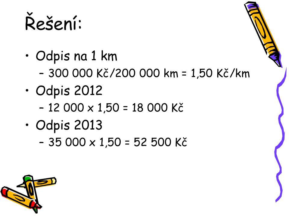 Řešení: Odpis na 1 km –300 000 Kč/200 000 km = 1,50 Kč/km Odpis 2012 –12 000 x 1,50 = 18 000 Kč Odpis 2013 –35 000 x 1,50 = 52 500 Kč