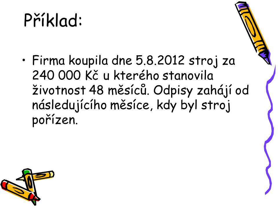 Příklad: Firma koupila dne 5.8.2012 stroj za 240 000 Kč u kterého stanovila životnost 48 měsíců.