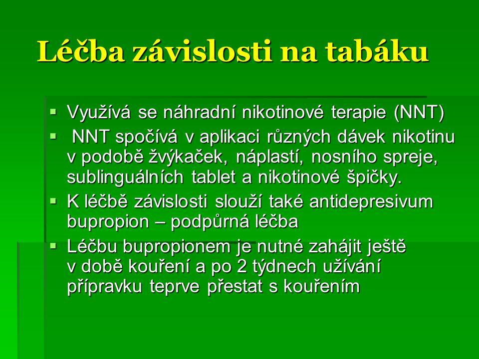 Léčba závislosti na tabáku Léčba závislosti na tabáku  Využívá se náhradní nikotinové terapie (NNT)  NNT spočívá v aplikaci různých dávek nikotinu v podobě žvýkaček, náplastí, nosního spreje, sublinguálních tablet a nikotinové špičky.