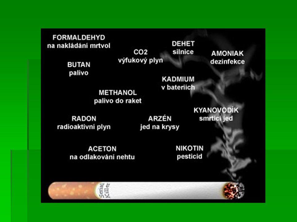 Nikotin Nikotin  Nikotin sám o sobě není významně škodlivý, ale je klasickou návykovou látkou  Způsobuje závislost, která je srovnatelná s drogovou závislostí na opiátech, amfetaminech a kokainem.