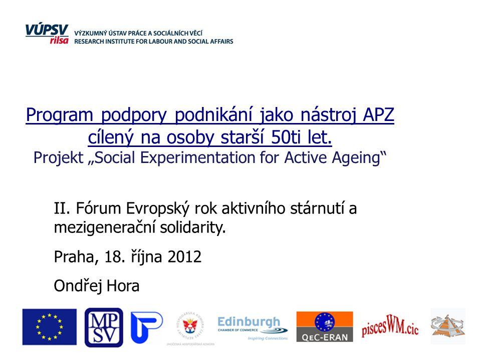 II. Fórum Evropský rok aktivního stárnutí a mezigenerační solidarity. Praha, 18. října 2012 Ondřej Hora Program podpory podnikání jako nástroj APZ cíl